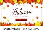 autumn theme. sale background... | Shutterstock .eps vector #1167610897
