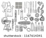 grill  barbecue equipment  tool ... | Shutterstock .eps vector #1167614341
