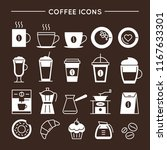 coffee and tea linear icons set.... | Shutterstock .eps vector #1167633301