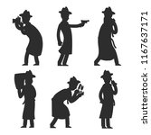 detective silhouettes isolated... | Shutterstock .eps vector #1167637171