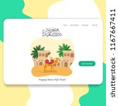 happy new hijri year landing... | Shutterstock .eps vector #1167667411