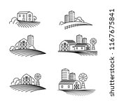 farming fields line icons vector   Shutterstock .eps vector #1167675841