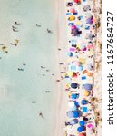 aerial view of a white beach... | Shutterstock . vector #1167684727