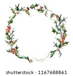 wreath from a holly. new year's ... | Shutterstock . vector #1167688861