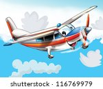 Little happy, cartoon plane - illustration for the children - stock photo