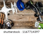 travelling must have equipment... | Shutterstock . vector #1167714397