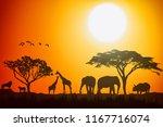 African Landscape Scene Of...