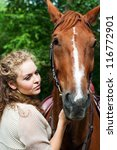 young woman and horse | Shutterstock . vector #116772901
