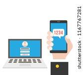 business hand holding smart... | Shutterstock .eps vector #1167767281