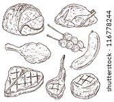 meat doodle vector set   Shutterstock .eps vector #116778244