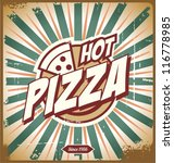 Vintage pizza sign, background, template or pizza box design