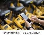 people hands using smartphone... | Shutterstock . vector #1167803824