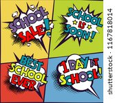 back to school in comic speech... | Shutterstock .eps vector #1167818014