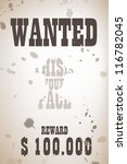 wanted poster with cowboy shape | Shutterstock .eps vector #116782045