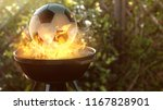 soccer ball on the grill  | Shutterstock . vector #1167828901