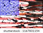american flag on a burnt wooden ... | Shutterstock . vector #1167831154