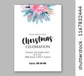 pink poinsettia christmas party ... | Shutterstock .eps vector #1167832444