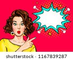 pop art woman surprise showing... | Shutterstock . vector #1167839287