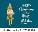 christmas and happy new year... | Shutterstock .eps vector #1167852574
