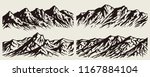 set of isolated huge mountains... | Shutterstock .eps vector #1167884104