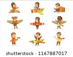 small children in pilot... | Shutterstock .eps vector #1167887017