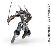 sci fi mech warrior holding two ... | Shutterstock . vector #1167905197