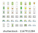 battery charging color icons... | Shutterstock .eps vector #1167911284