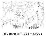 set of spider web and text of... | Shutterstock .eps vector #1167960091