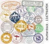 pisa italy stamp vector art... | Shutterstock .eps vector #1167966904