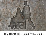 silhouettes wheelchair and man... | Shutterstock . vector #1167967711