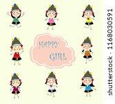 set of cute happy cartoon... | Shutterstock .eps vector #1168030591