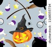 halloween seamless pattern with ... | Shutterstock .eps vector #1168055734