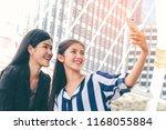 happy asian girls selfie with... | Shutterstock . vector #1168055884