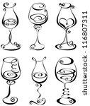 set stylized wine glass   Shutterstock .eps vector #116807311