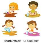 illustration of four kids... | Shutterstock .eps vector #116808409