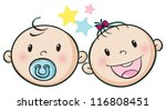 illustration of a baby faces on ... | Shutterstock .eps vector #116808451