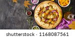 galette pie with pumpkin and... | Shutterstock . vector #1168087561