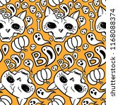 seamless halloween pattern with ... | Shutterstock .eps vector #1168088374