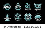 nautical theme  set of logos or ... | Shutterstock .eps vector #1168101331