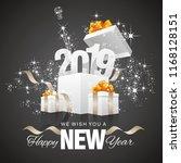 happy new year 2019 firework...   Shutterstock .eps vector #1168128151