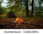 Camp Fire And Tourist Tent In...