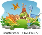 cartoon happy dinosaurs in the... | Shutterstock .eps vector #1168142377