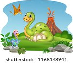 cartoon dinosaur with her eggs... | Shutterstock .eps vector #1168148941