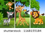set of three wild animals with... | Shutterstock .eps vector #1168155184