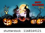 happy halloween background with ... | Shutterstock .eps vector #1168164121