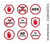set ad block or red stop sign... | Shutterstock .eps vector #1168166521
