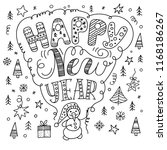 happy new year text  hand drawn ... | Shutterstock .eps vector #1168186267