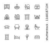 collection of 16 room outline... | Shutterstock .eps vector #1168187134