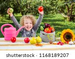 young cute girl child pose with ... | Shutterstock . vector #1168189207