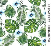 watercolor pattern of tropical... | Shutterstock . vector #1168193584